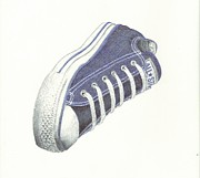 All Star Drawings Framed Prints - Ballpoint Chuck Taylor Framed Print by Cody Smith