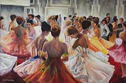 Ballroom Paintings - Ballroom dancers by Cheryl Flemming