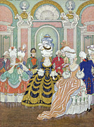 Ballroom Metal Prints - Ballroom Scene Metal Print by Georges Barbier