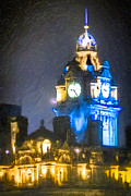 Illustrative Prints - Balmoral Clock Tower on Princes Street in Edinburgh Print by Mark E Tisdale