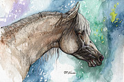 Drawing Painting Originals - Balon polish arabian horse portrait 5 by Angel  Tarantella