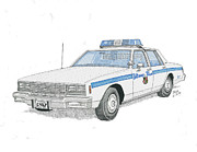 Patrol Drawings Posters - Baltimore City Police Cruiser Poster by Calvert Koerber