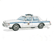 Baltimore Drawings Metal Prints - Baltimore City Police Vehicle Metal Print by Calvert Koerber