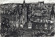 Baltimore Drawings Originals - Baltimore Cityscape by Phillip Castaldi
