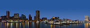 Nightscapes Framed Prints - Baltimore Harbor Skyline Twilight Panorama  Framed Print by Susan Candelario