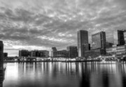 Skylines Photo Framed Prints - Baltimore in Black and White Framed Print by JC Findley