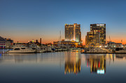 Patapsco River Photos - Baltimore Inner Harbor East Skyline at Dawn I by Clarence Holmes