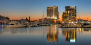 Panoramic Marina Framed Prints - Baltimore Inner Harbor East Skyline at Dawn Panoramic I Framed Print by Clarence Holmes