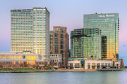 Patapsco River Photos - Baltimore Inner Harbor East Skyline at Twilight I by Clarence Holmes