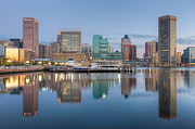 Patapsco River Photos - Baltimore Inner Harbor Skyline at Dawn I by Clarence Holmes
