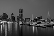 Seaport Posters - Baltimore Inner Harbor Skyline Reflections BW Poster by Susan Candelario