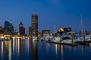 Nightscapes Framed Prints - Baltimore Inner Harbor Skyline Reflections Framed Print by Susan Candelario