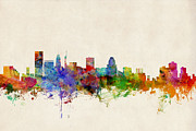Silhouette Digital Art - Baltimore Maryland Skyline by Michael Tompsett