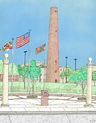 Baltimore Drawings Metal Prints - Baltimore Shot Tower Metal Print by Calvert Koerber