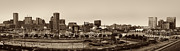 Panoramic Marina Framed Prints - Baltimore Skyline Panorama In Sepia Framed Print by Susan Candelario