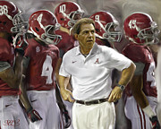 Nick Saban Posters - Bama Boys Poster by Mark Spears