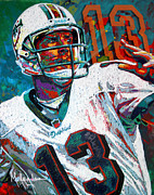 Football Paintings - Bambino dOro Dan Marino by Maria Arango