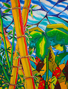 Caribbean Sea Paintings - Bamboo and Banana Leaf by Lee Vanderwalker