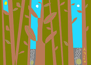 White River Scene Drawings Posters - Bamboo by the River Poster by Anita Dale Livaditis