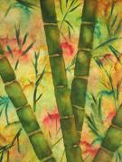 Greens Greeting Cards Prints - Bamboo Garden Print by Chrisann Ellis