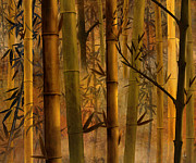 Magical Mixed Media Metal Prints - Bamboo Heaven Metal Print by Bedros Awak