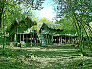 Country Cottage Photo Originals - Bamboo House by Ankit Sagar