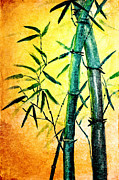 Green Leafs Drawings Posters - Bamboo magic Poster by Nirdesha Munasinghe