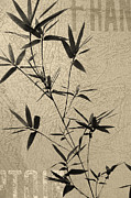 Chinese Ink Prints - Bamboo Poesy Print by Jenny Rainbow