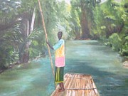 Martha Brae River Prints - Bamboo Raft Ride Print by Paula Pagliughi