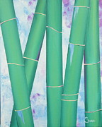 Tryptych Originals - Bamboo tryptych 3 by Shiela Gosselin
