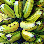 Yellow Bananas Paintings - Banana Bunch by Sandi Howell