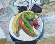 American Food Paintings - Banana Chile Strawberry on a Plate by Chris  Easley