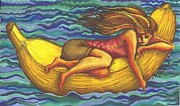 Featured Drawings Originals - Banana Float by Julie Hancock