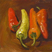 Hot Peppers Painting Originals - Banana Peppers by Nora Sallows