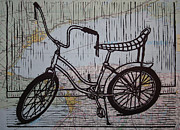 Lino Print Prints - Banana Seat on map Print by William Cauthern