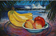 Mango Painting Originals - Bananas and mangoes at Jobo Beach Isabela by Estela Robles