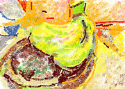 Wooden Bowls Prints - Bananas from Paphos 2 Print by Anita Dale Livaditis