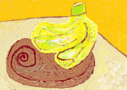 Wooden Bowls Prints - Bananas from Paphos 3 Print by Anita Dale Livaditis