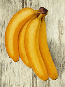 Signature Digital Art Framed Prints - Bananas on wood Framed Print by Wim Lanclus