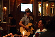 Performing Posters - Band at Palaad Tawanron Restaurant - Chiang Mai Thailand - 01136 Poster by DC Photographer