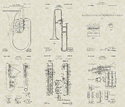 Technical Art Drawings Prints - Band Instruments Patent Collection Print by PatentsAsArt