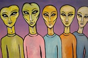 Otherworldly Paintings - Band of E.T.s by Janine Cooper Ayres