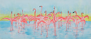 Flamingos Paintings - Band on the Run by Rhonda Leonard