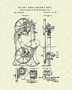 Metal Drawings Framed Prints - Band Saw 1871 Patent Art Framed Print by Prior Art Design