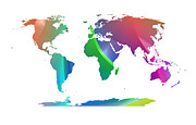 Geography Digital Art - Banded Gradient World Map by Daniel Hagerman