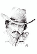 Burt Reynolds Drawings - Bandit Burt Reynolds by Michael Anger