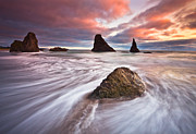 Oregon Coast Framed Prints - Bandon Evening Lights Framed Print by Darren  White
