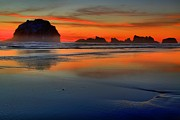 Beach Sunsets Art - Bandon Foggy Fire by Adam Jewell