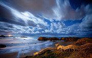 Moon Framed Prints - Bandon Nightlife Framed Print by Darren  White