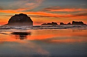 Beach Sunsets Art - Bandon Orange Pastels by Adam Jewell